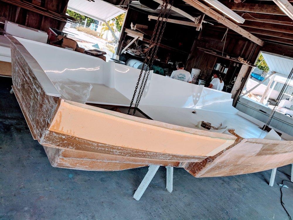 Inner liner of the boat.
