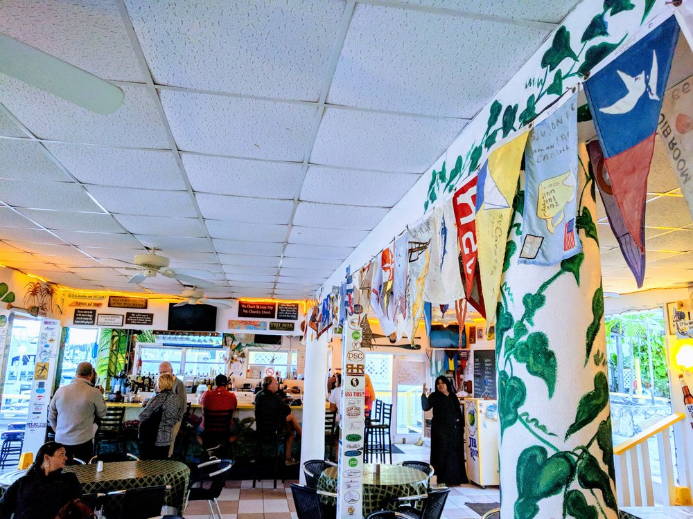 Flags, quirky signs and fabulous staff make this restaurant warm and welcoming.
