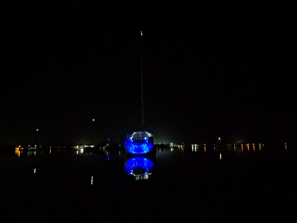 Our blue lights make it easy to find our boat.