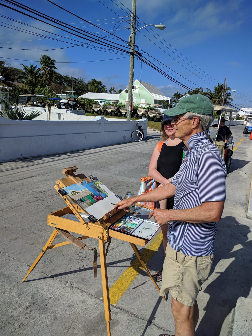 We met this very sweet water colour artist. Beautiful painting!