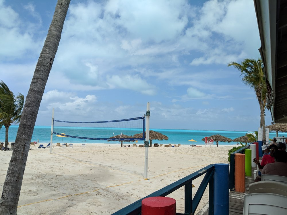 Coco's on the beach, overlooking the volleyball court.