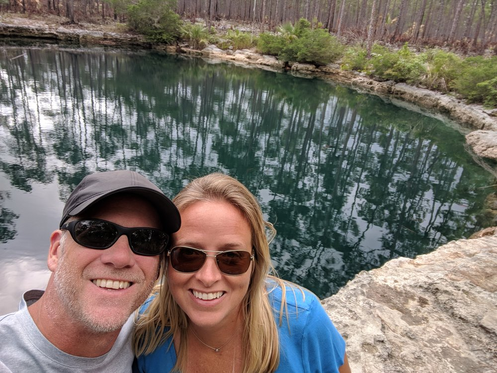 Checking out the Blue Hole.