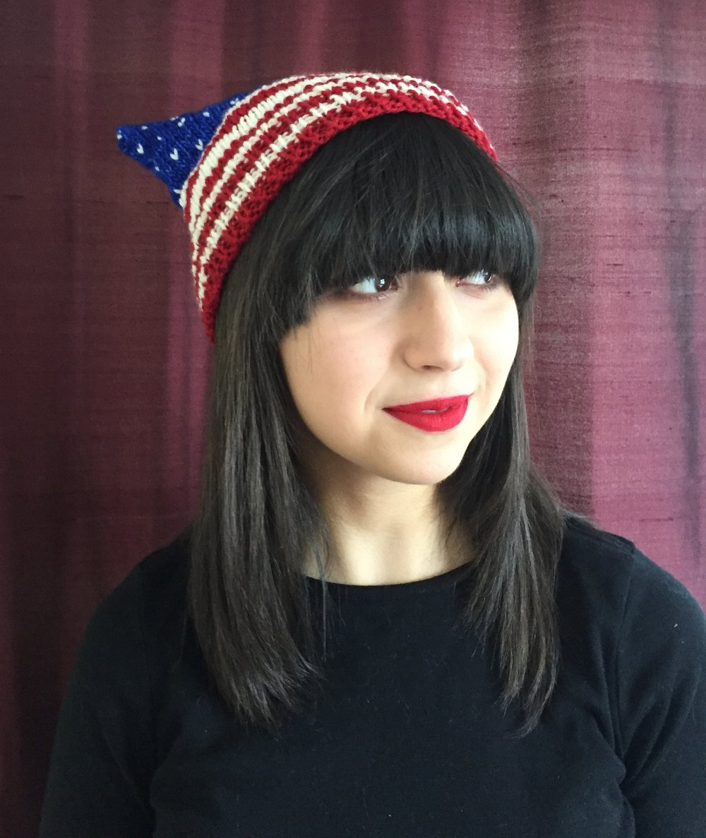 Here's the link to the  Flag Hat pattern . Here's a link to the original  bulky  pattern on Ravelry.