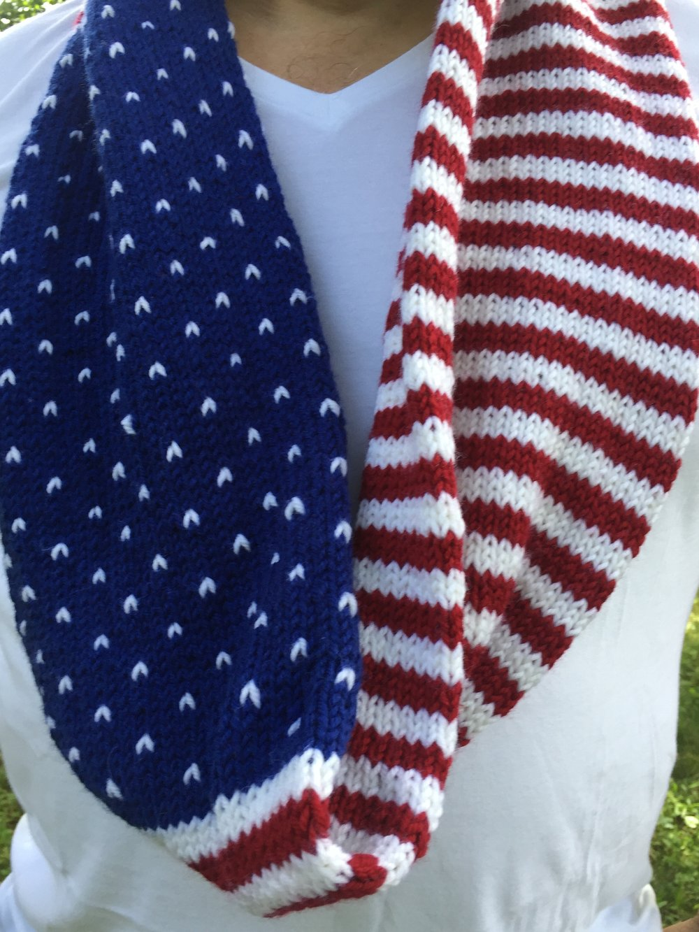 This worsted weight cowl is a perfect first color project. Fast and warm it is perfect for winter marches.  Protest is Patriotic Cowl Pattern  is free but please consider making a donation to  Planned Parenthood.