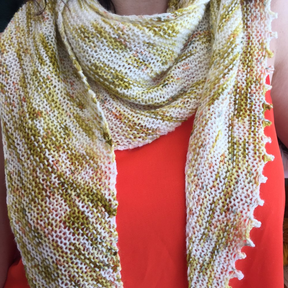 The  Easy LYS shawl  is simple enough for beginners yet still stylish. Choose a yarn that speaks to you and cast on!