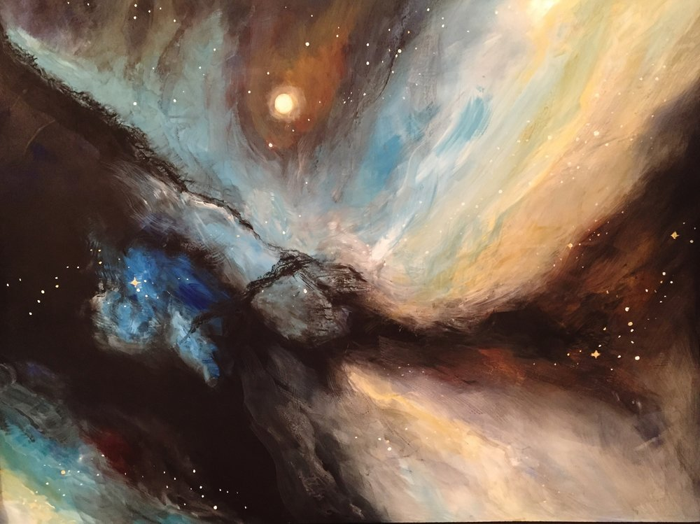 UNIVERSAL MATTERS   Black matter floats like waves in the universe illuminated by the stars       Winter 2015                                                             20 x 30                             Original  $680                               Giclee on canvas enhanced         $400.