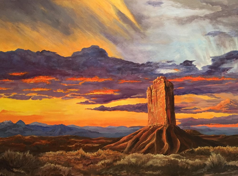 GUIDING ROCK   This landmark rock formation is near 4 corners (New Mexico, Arizona, Nevada, and Colorado) and was used as a guide marker for travelers headed for California.                   29x 36                   Summer 2016                                      Original $1020   Giclee on canvas enhanced    $400