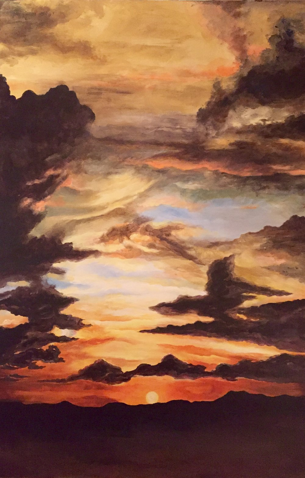DARKNESS AND LIGHT   This dramatic sky suggests both the glory of God and the darkness of evil. It is probably more than a coincidence that this inspiration came to me after the presidential elections.      24x 36                                                                           December 2016          Original  $860.                                                     Giclee on canvas enhanced                      $460.
