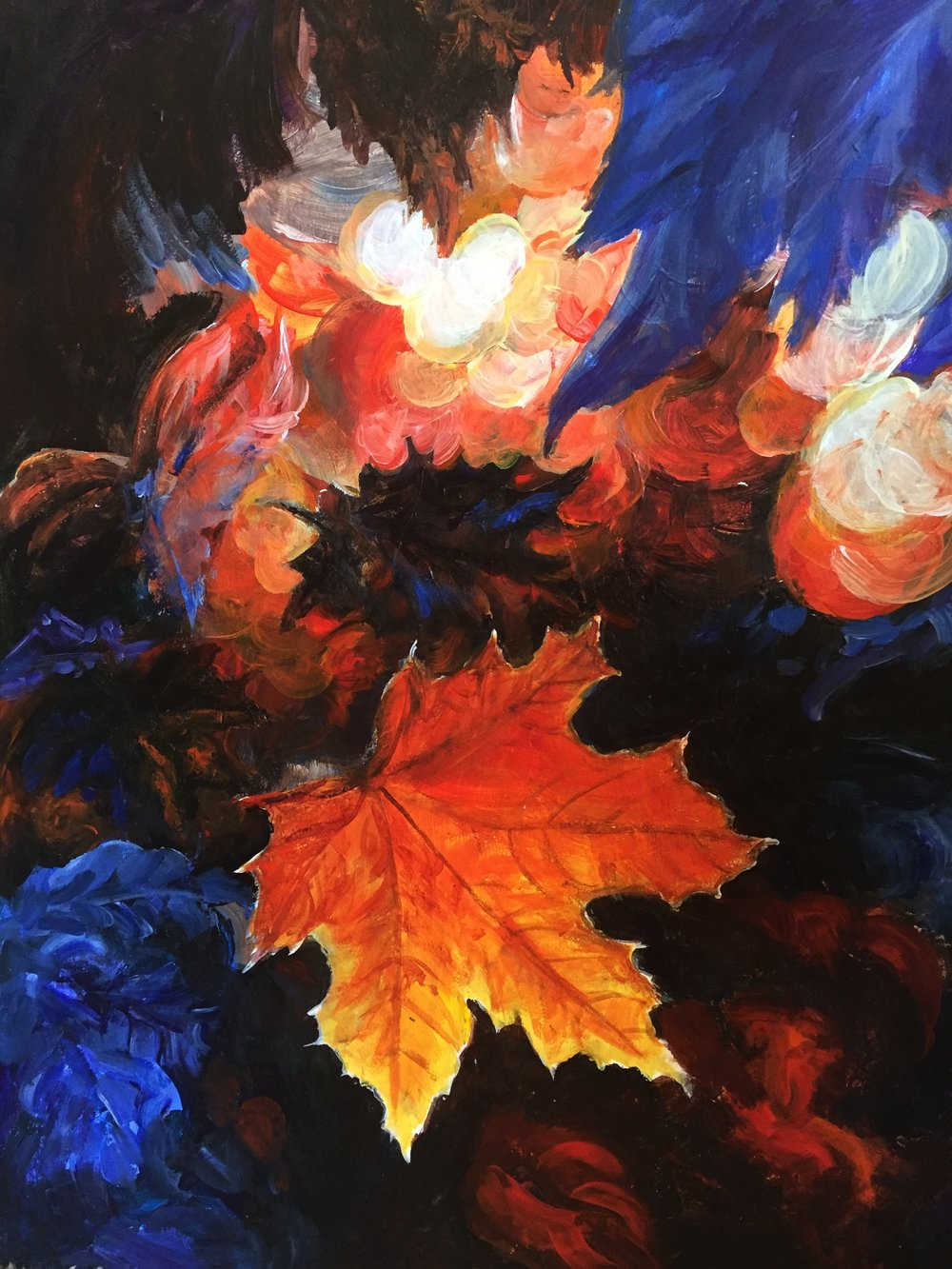 FALL DRAMA   Fall leaves seem to dance, glow, shimmer, and float with dramatic lighting effects.             20x 24     Fall 2015