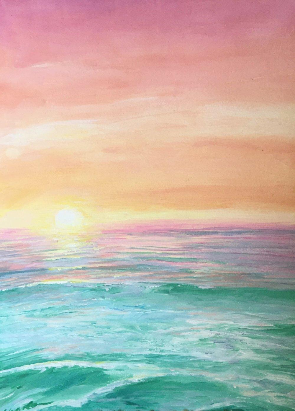 GOOD MORNING....at the beach  14x 19Summer 2015