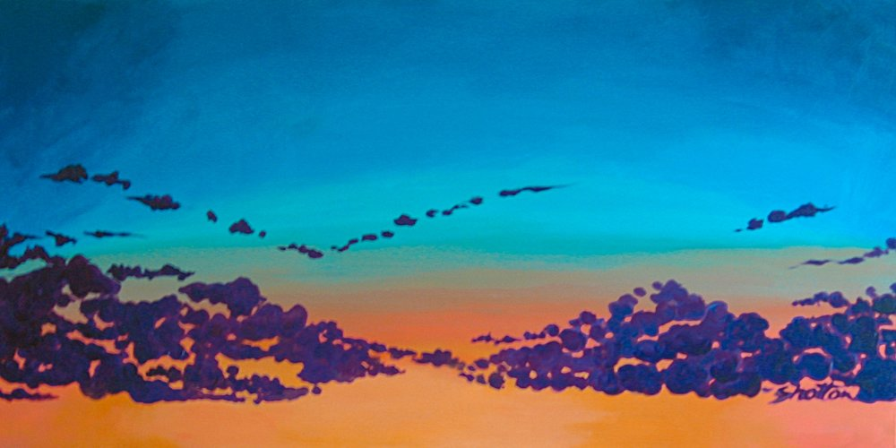 PURPLE POPCORN SKY.... on my way home the color and cloud formation just made me happy.. so I came home and started painting.                                                                        48 x 24                                                                                                                                $ 880.