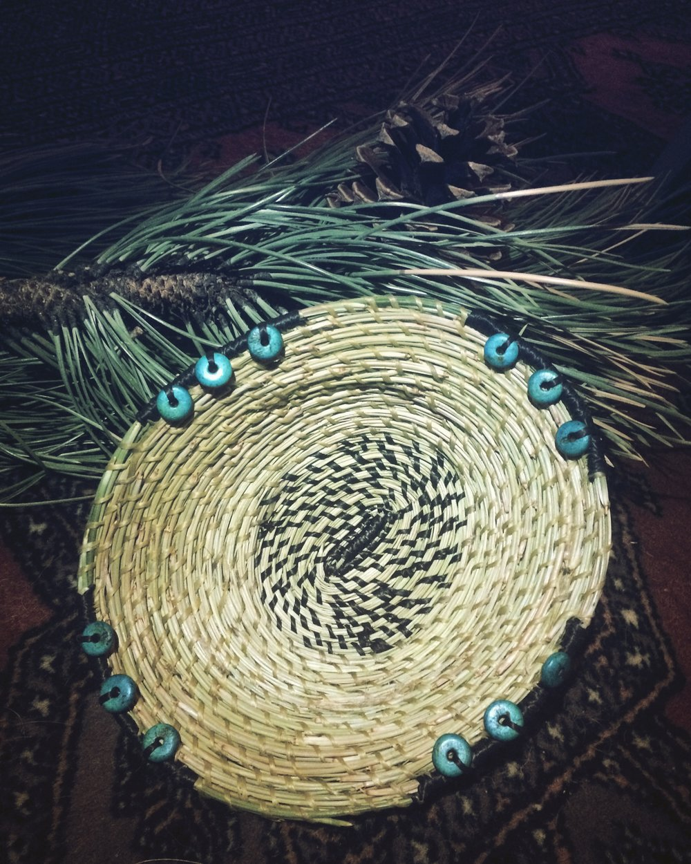 Finished Pine Needle Basket