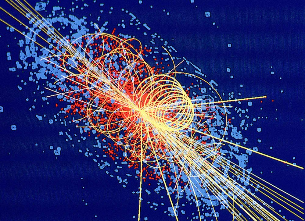 Dark matter may be produced at the Large Hadron Collider [Image: simulated proton collision]