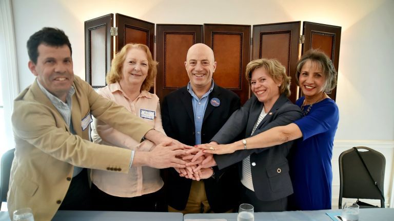 The 5 Democratic candidates for NY01. The June 26 primary will decide the winner. Three cheers for spirited debate, and support for the winner!