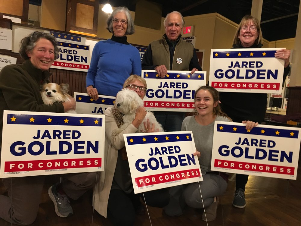 At the Jared Golden office in Ellsworth, Maine. From left: Bess Coughlin, Katie White, Bettina Borders, Bob Truslow, Jackie Merrill (Maine Dems coordinator in Ellsworth), Carole Ferguson