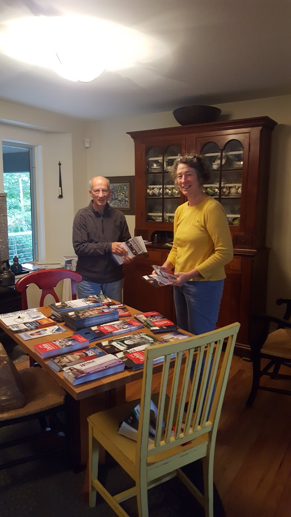 Vic and Bess preparing canvassing materials.