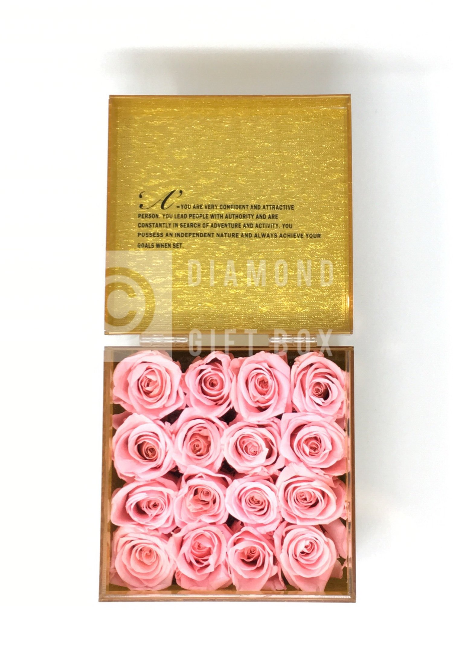 Diamond Gift Box-A-Z NAME BOX - 9/16 ROSES - PLAIN ROSE COLOR