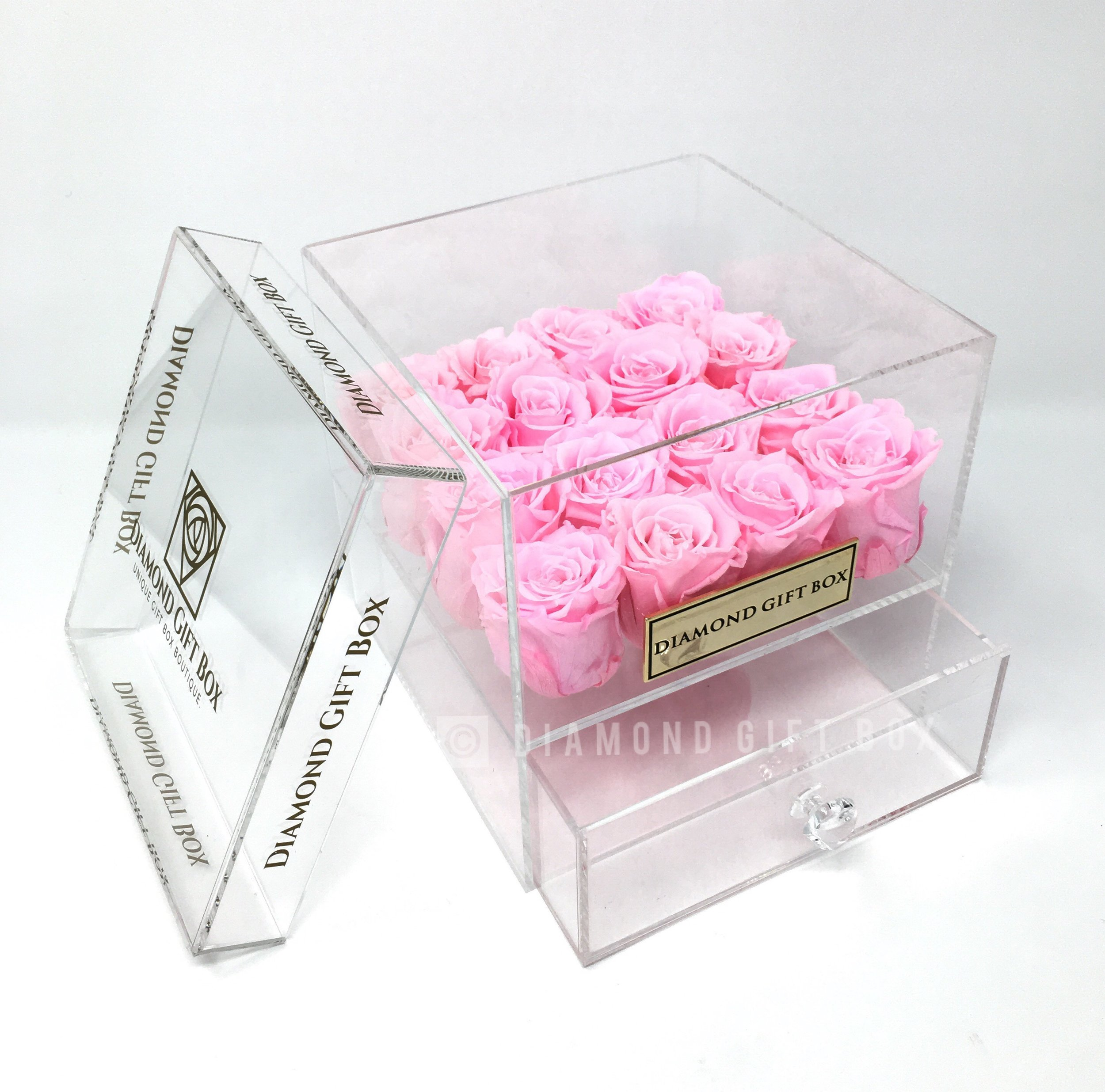 Diamond Gift Box-DIAMOND GIFT BOX - 9/16 ROSES - PLAIN COLOR