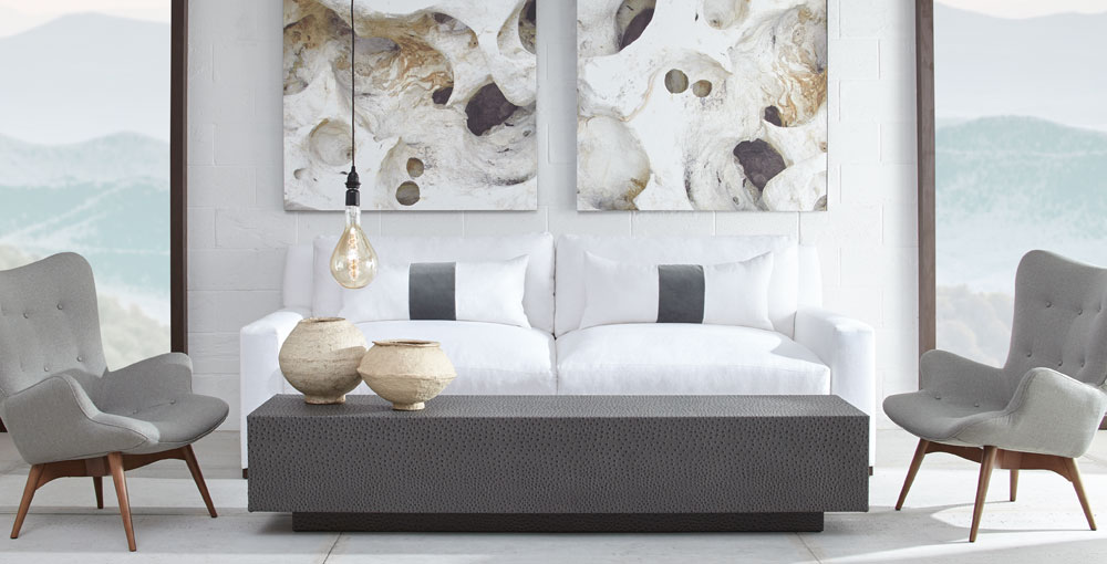 The natural pattern and colors found in rock formations is the inspiration behind the Canyon Collection. The structure and tonal colors are a breath taking sight that is sure to put a powerful presence in any room. The textiles add to the stone-like shades of grey and enhances all the textures in the collection.