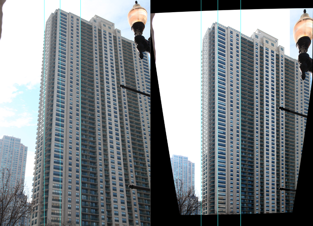 "How it's made: I take a high-resolution photo of a tall building (Left, made with a Canon 5D Mark II at full resolution). The building is ""straightened"" in Photoshop (Right)."
