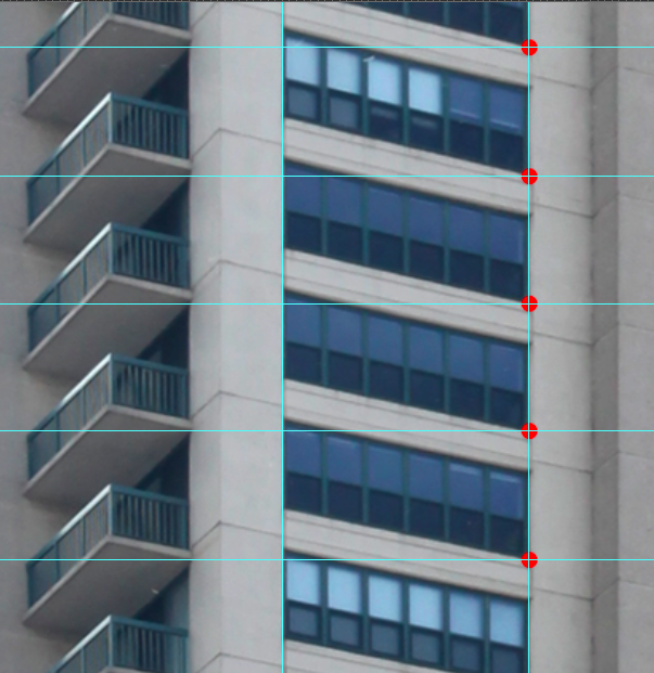 After the building is straightened, I mark off each floor at the same location (see horizontal guides drawn above). Each slice then becomes one frame in a GIF animation.