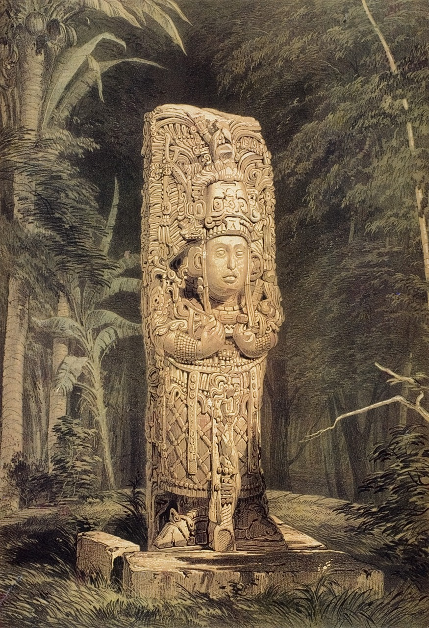 "Frederick Catherwood, Lithograph of Stela D at the Mayan site of Copán. Original drawing made on site with a camera lucida. Published in ""Views of Ancient Monuments in Central America"", 1844"