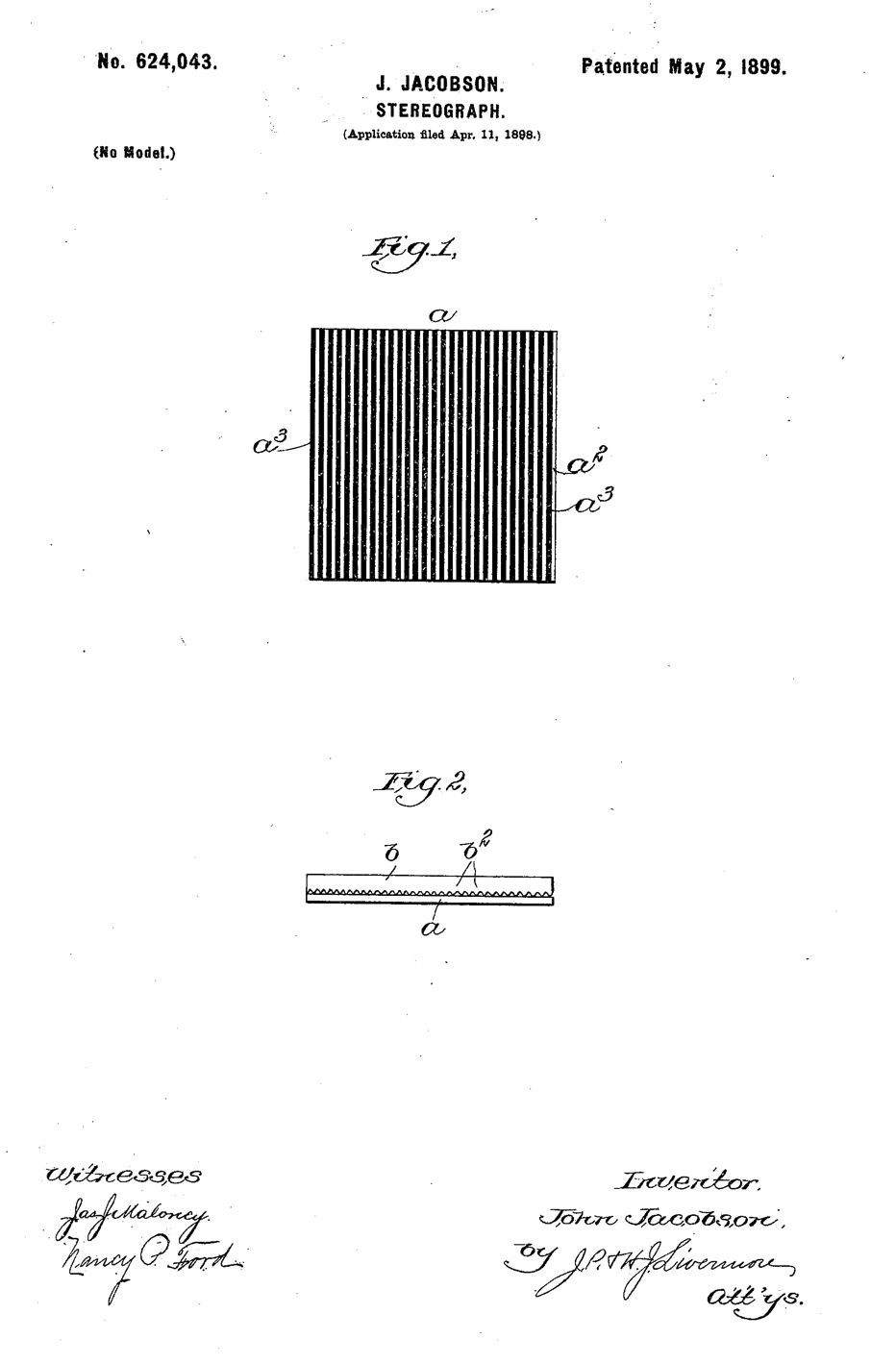 John Jacobson's patent for a lenticular sheet. It doesn't look like much, but that's the point: very little between you and the 3D image.