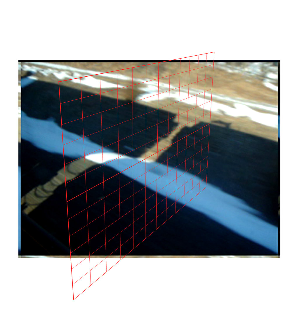 By overlaying a perspective grid onto the video, I can measure the profile of the trackside topography.