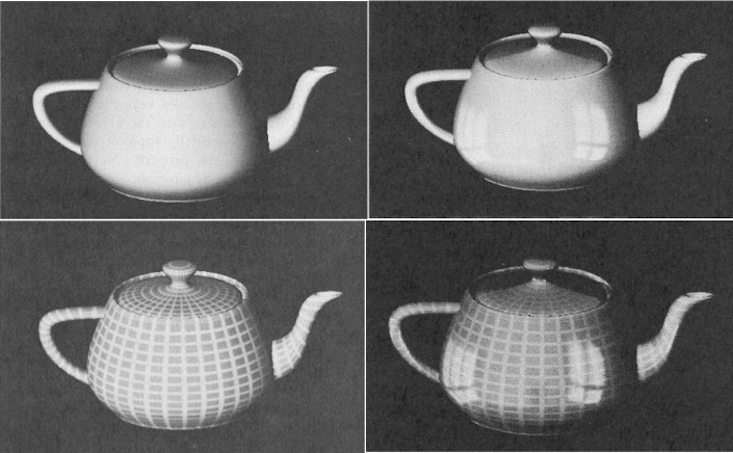 Martin Newell's original rendering tests of his teapot, made at the University of Utah, 1975.