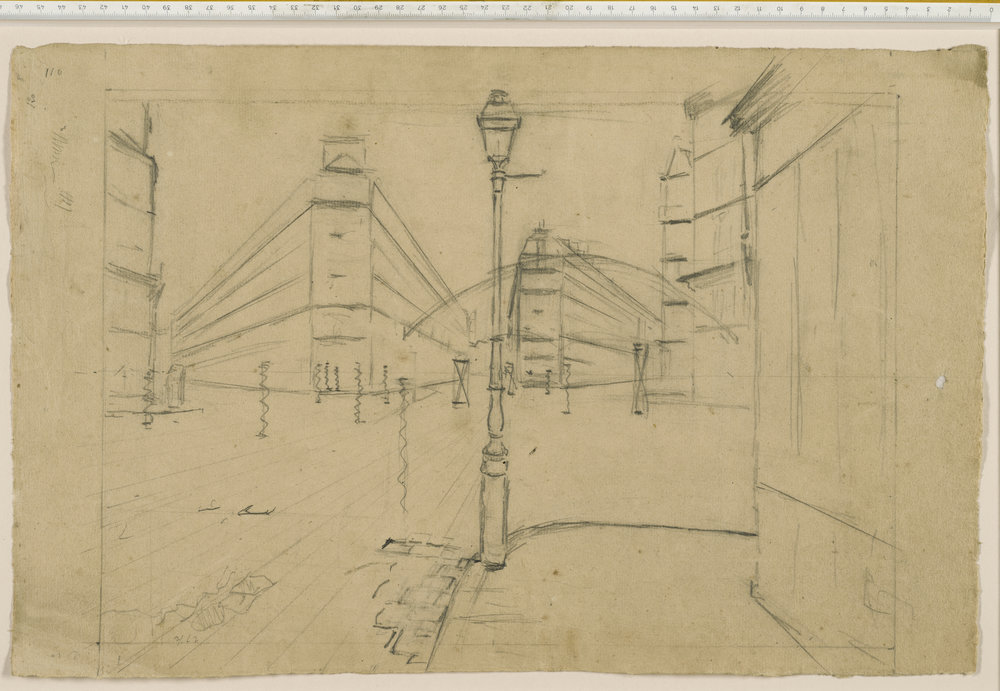 Gustave Caillebotte, Study drawing for Paris Street; Rainy Day, collection The Art Institute of Chicago. This rough drawing scales up perfectly to the painting.