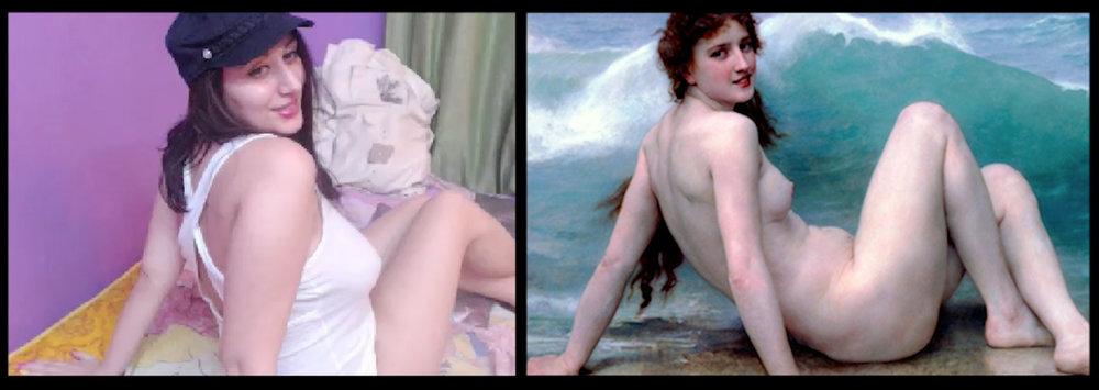 fantasiexxx as  La Vague (The Wave) , William-Adolphe Bouguereau (1896)