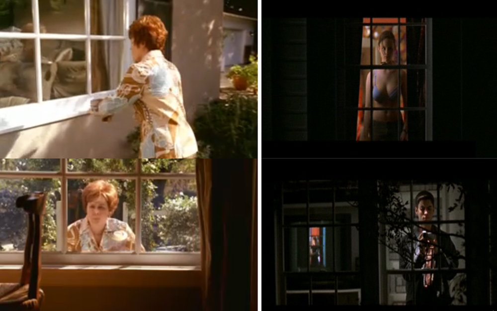 Voyeurism is a well-documented aspect of suburbia, as evidenced by popular representations of peeping neighbors. (Left:  Desperate Housewives , Right:  American Beauty )