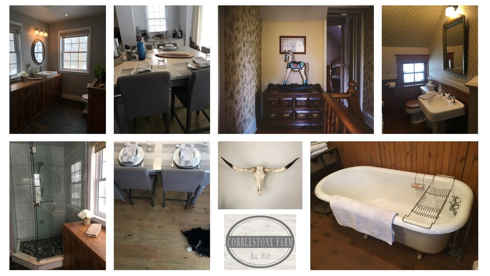 (L - R) the man floor bathroom, the eat in kitchen bar (adorable dog not included), upstairs hallway and bathroom.