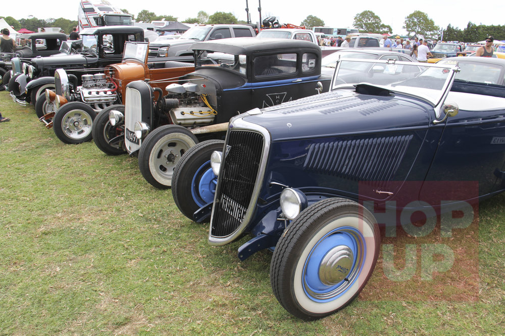 Keith Golder's FE powered '34 roadster is shown here alongside Malcolm Turner's Hemi powered Model A coupe and Haydn Mitchell's Hemi powered Model A roadster pickup.