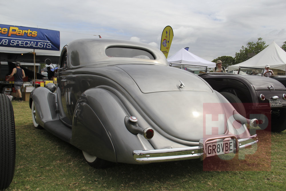 Coming or going, Tania Foster's '36 coupe cuts a gorgeous profile. A strong nod in its styling must go to the Jack Calori coupe and the early Westergard custom era.