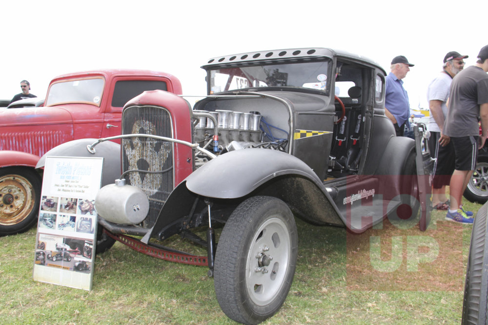 Dave Best built this gasser inspired Model A coupe in the early nineties and now his son Jesse owns it with an injected Hemi and a four speed gearbox. It's raced and driven on the street regularly.