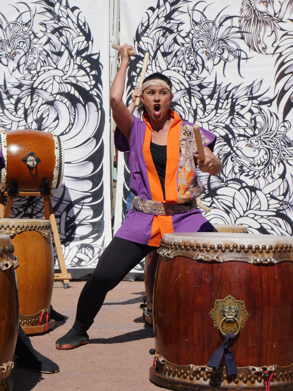 A taiko drummer performs in front of an audience during the 34th Arizona Matsuri Festival of Japan in Phoenix, Ariz. on Feb. 24, 2018.  (Nick Serpa/azcentral)