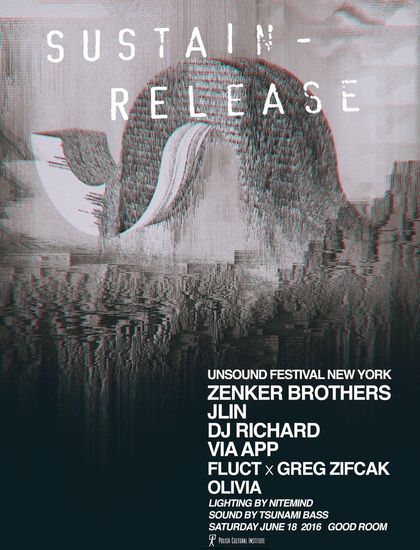 Sustain-Release x Unsound Festival NY: Zenker Brothers, Jlin, DJ Richard, Via App, Greg Z & FlucT, Olivia  June 2016