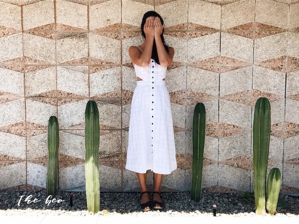 Madewell Windowpane Cutout Dress  /  Lotta Clogs