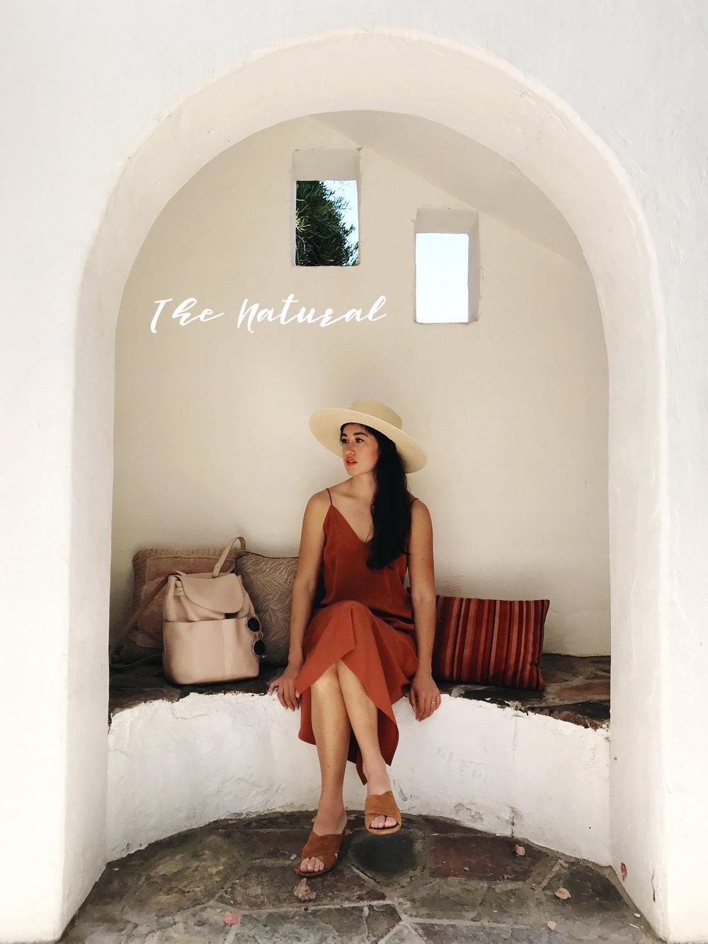 Cuyana  Silk Slip Dress  /  Cuyana Leather Backpack  /  Catherine Malandrino Slides