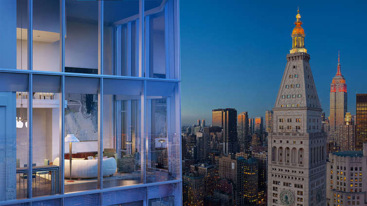 """Standing 65-stories tall and offering 1 to 5 bedroom residences listed between 2.75MM and $48MM, Madison Square Park Tower is a luxury complex with a striking façade and mind-blowing interiors. The floor-to-ceiling windows in select residences frame sweeping vistas of Manhattan. This hybrid of full-floor residences and penthouses exhibits carefully planned interiors by Martin Brudnizki.    The rooms are spacious, with custom decorations to complement the bustling neighborhood and the vibrant vibe of New York City while the master baths are shrouded with imported Mountain White Danby stone, embellished with custom vanities and Watermark nickel fittings. Carefully-curated amenities includes library, fitness services, a private yoga studio, children's playroom, basketball court, a PGA Tour classic golf simulator, gymnasium, entertaining terrace, and a Billiards room.    CITY REALTY ARTICLE    This very dramatic, glass, mid-block tower at 45 East 22nd Street has been designed by Kohn Peterson Fox and Goldstein, Hill & West for the The Continuum Company, which is headed by Ian Bruce Eichner, the developer of CitySpire on 56th Street between Sixth and Seventh Avenues.    This tower has only a 75-foot frontage on 22nd Street but flares as it soars to 125-feet wide at its 777-foot-high top as a result of it having acquired air rights from neighboring lots.    As a result, it is substantially higher than the thin residential tower at One Madison at 23 East 22ndStreet that Mr. Eichner attempted to acquire before launching this project and it will also be taller than the famous MetLife """"Clocktower"""" office building that has long dominated Madison Square Park and is being converted into a hotel by Ian Schrager.    While none of these towers will ever be as famous as the much shorter """"Flatiron"""" building that occupies the triangular block between 22nd and 23rd Street, Broadway and Fifth Avenue, they giving the """"Flatiron"""" district and Midtown South a dramatic new, reverberating sky"""