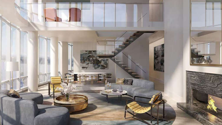 Standing 88-stories tall and housing 285 residences with one-bedroom layouts to duplex penthouses, 15 Hudson Yards is the first residential tower to rise at Hudson Yards and showcases a collaboration between Filler Scofidiot+ Renfro and Rockwell Group. This tower is located right on the Public Square and Gardens and enjoys a bustling neighborhood.    The interiors display wide-plank white-oak flooring and hand-selected materials and kitchen appliances from Miele. The residents are free to pick from 2 custom interior palettes. The floor-to-ceiling windows frame vistas of the Hudson River and the Statue of Liberty. Amenities and services have been carefully administered to ensure a convenient, modern way of living. Facilities include, pool, spa, salon, private dining suites, gathering space, club room, and concierge services.     CITY REALTY ARTICLE     This 88-story, 910-foot-high tower, known as Fifteen Hudson Yards is the first residential tower expected to be completed on the ambitious superdevelopment railroad tracks encircled by the High Line.    The tower is being developed by The Related Companies, headed by Stephen Ross, and Oxford Properties Group Inc.. It has been designed by Diller Scofidio + Renfro in collaboration with Rockwell Group. Ismael Leyva is serving as the architect of record.    Amenities will include a 24-hour concierge service, two floors of wellness offerings and a skytop entertaining suite with indoor entertainment lounges. Set in the heart of Hudson Yards on the site's public square, the building will overlook a majestic new design installation by Heatherwick Studio.    The tower will contain five distinct residence types, ranging from one-bedroom homes overlooking the High Line to duplex penthouses with expansive city views. Completion is scheduled for 2018.    CONTACT US FOR MORE INFORMATION ABOUT THIS AND OTHER NEW DEVELOPMENTS IN NYC, BROOKLYN & QUEENS!
