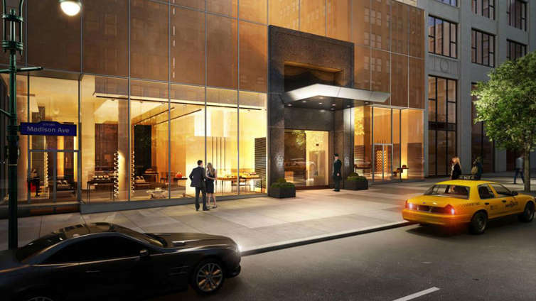 Designed by Karl Fischer Architect and Shamir Shah Design, 172 Madison stands 33 floors high, housing a total of 69 residences, including four penthouses, one mansion and a SkyHouse. The building enjoys a striking façade, flaunting its curtain wall of glass and a blend of the contemporary and historic style. The residences enjoy the finest soundproof insulations and the latest technology in home automation.     The houses exhibit a maximum of 3 rooms per residence, with open floor plans and high ceilings, and windows framing breathtaking vistas of the neighborhood that includes Madison Square Park, the Flatiron District, Gramercy Park and NoMad. The kitchens are well-equipped with hardware by Luce de Luna, Miele, and Subzero. While the 3rd-floor Mansion celebrates a wraparound terrace and a private outdoor pool. Amenities include a concierge, doorman, lounge, outdoor Plaza, pool, club and steam rooms, playroom, and much more.    CITY REALTY ARTICLE    The site for a mixed-use tower at 172 Madison Avenue on the northwest corner at 33rd Street was acquired in 2007 by NMP Group, which planned an apartment and hotel tower with three major setbacks and broad light-colored piers.    It eventually defaulted on its loan and the CIM Group of Los Angeles purchased the $29 million mortgage and started foreclosure action.    In 2013, Yitzchak Tessler paid off the debt and CIM fees for about $55 million, according to an article in Crain's and made a partnership with NMP to develop a 31-story tower with 67 apartments.    Karl Fischer is the architects and the project will have a 34-story tower setback on a low-rise base with a pool on the roof of the base.    The mostly glass tower will be contained in large black frames giving it a very powerful and very dramatic verticality. The lowest level of the tower will be slightly indented and a middle section will be slightly indented on the south side and the top section, including the black frames, will be slightly indented on the sou