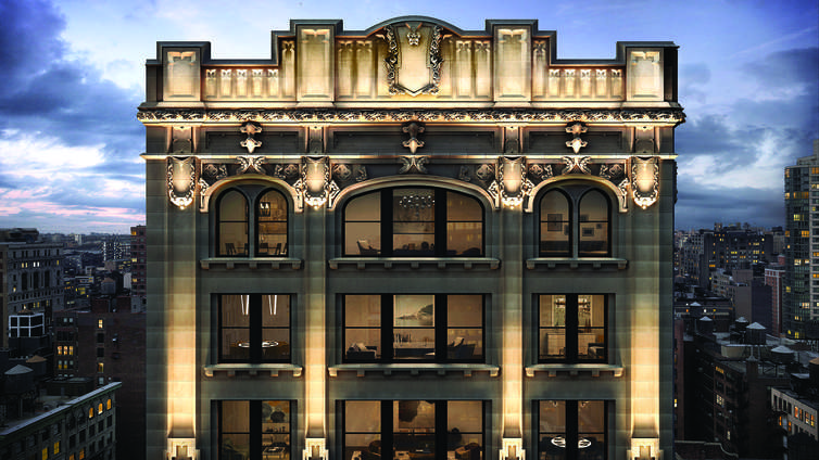 Standing as a classic configuration of a pre-war, historic façade, and a luxe, elegant interior, 212 Fifth Avenue is designed by Pembrooke & Ives and features 2 to 4 bedroom homes and a penthouse. The residences house a foyer, dining, kitchen, and living space, with elaborate floor plans, modern, Chevron flooring and expansive windows framing exquisite views of the Croisic Building and Flatiron Building.     The kitchen enjoys a harmonious indulge of neo designs and custom cabinetry and fixtures to guarantee a convenient and luxurious living. Carefully curated amenities include a 24-hour doorman/concierge, a fitness center, golf simulator, screening room, a board room, game room, playroom, lounge, catering kitchen, treatment room, as well as bike storage, all exclusively for the residents.     CITY REALTY ARTICLE     The very handsome, 21-story, former office building at 212 Fifth Avenue facing Madison Square Park on the southeast corner at 26th Street is being converted to 48 residential condominiums by Madison Equities, which is headed by Robert Gladstone, Building Land and Technology and Thor Equities, which is headed by Joseph Sitt.    Madison and Thor bought the building in 2014 for $260 million from Extell Development, which is headed by Gary Barnett. Extell had acquired the site and 12 other properties from Ring Management, which is headed by Frank and Michael Ring, in 2014 for $308 million.    The Neo-Gothic building was designed by Schwartz & Gross and erected in 1913.    Helpern Architects is the architect for the conversion.    The building has about 4,250 square feet of retail space.    It is in the Madison Square North Historic District so external changes to the building need to be approved by the city's Landmarks Preservation Commission.    In March, 2015, the website of AJSNY displayed a rendering of a dramatic and flamboyant rooftop addition with receding bronze accents to the building that featured a very large Art Deco-style clock on the south faç