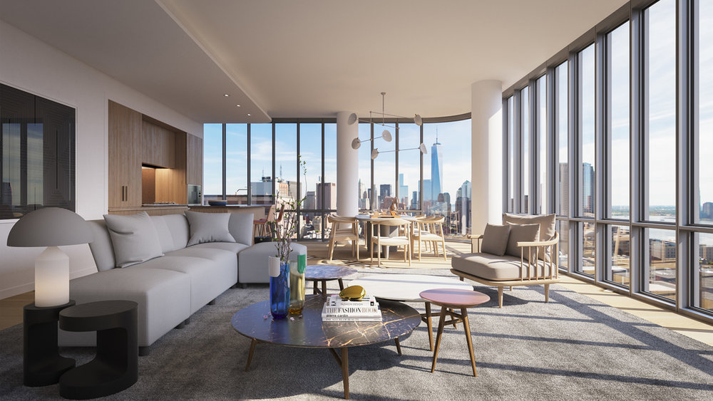 A twin-tower development that stands 30 stories tall, soaring above the city and overlooking the Hudson River, 565 Broome SoHo is the result of a collaboration between developers and designers Renzo Piano, the Paris Interior design firm and Bizzi& Partners Development.  The project features luxury condominium residences that will give you a perfect blend of cosmopolitan interiors and outdoor recreations that are the heartbeat of SoHo. The development's rounded glass corners, fine views, and cobblestone driveway mirror a distinguished eye for craft and luxury and appreciates SoHo's unique local character.  The building features various amenities including a doorman, concierge, attended lobby, Central AC, pool, roof deck, on-site parking and a fitness center. Added to this, an elevator, children's playroom and in-unit washer/dryer offed the luxury and convenience of a private covered portecochere will ensure a modern, coveted and luxury living amidst the vivacity of SoHo.   CITY REALTY ARTICLE   This stunning, twin-tower development at 565 Broome Street in SoHo overlooking the Freeman Plaza approach to the Holland Tunnel was developed by Bizzi & Partners Development, Aronov Development, Halpern Real Estate Ventures, Cindat Capital Management and Michael Shvo.  The Renzo Piano Workshop was the architect. It is Mr. Piano's first residential project in the city. Mr. Piano was the architect also of the recently opened Whitney Museum of American Art next to the southern end of the High Line Elevated Park in the West Village, a hulking structure that looks like a huge battleship overlooking the Hudson River.  SLCE is the executive architect. Rena Dumas Architecture Interieure is the interior designer.  The 30-story, reflective-glass towers have rounded corners and rise from a broad base that is deeply punctuated with thin indentations are the east and west sides and at the base of the towers.  The development includes 115 condominium apartments.  It is expected to be comple