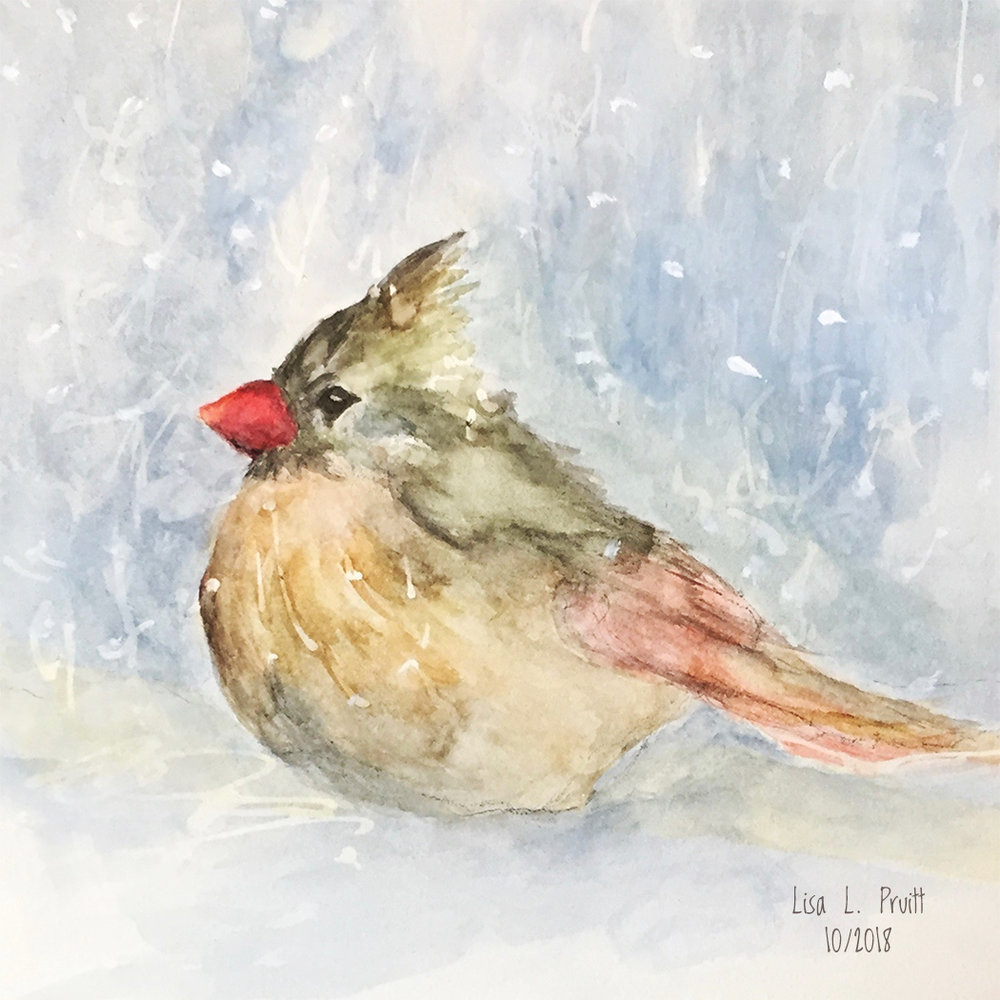 "Snowbird, original watercolor, 6 x 6"" SOLD but prints available"