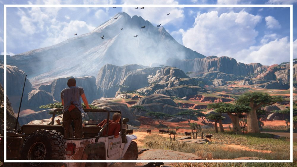 Uncharted 4 showcases contrast in  shape, light, height and color  in one scene.
