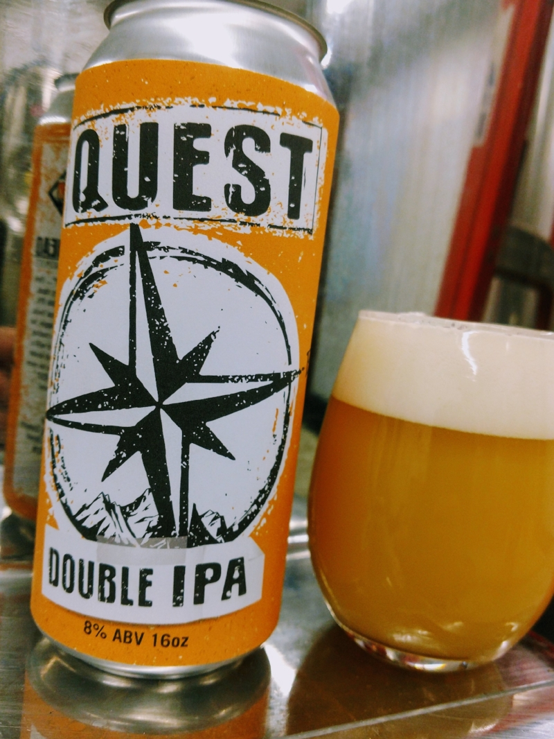 QUESTDOUBLE IPA,8% ABV - What is your Quest? Ours was to brew a juicy, dank, approachable double IPA, bursting with tropical fruit, mango, peach, pineapple. A combo of 4 different hops make up this complex double IPA