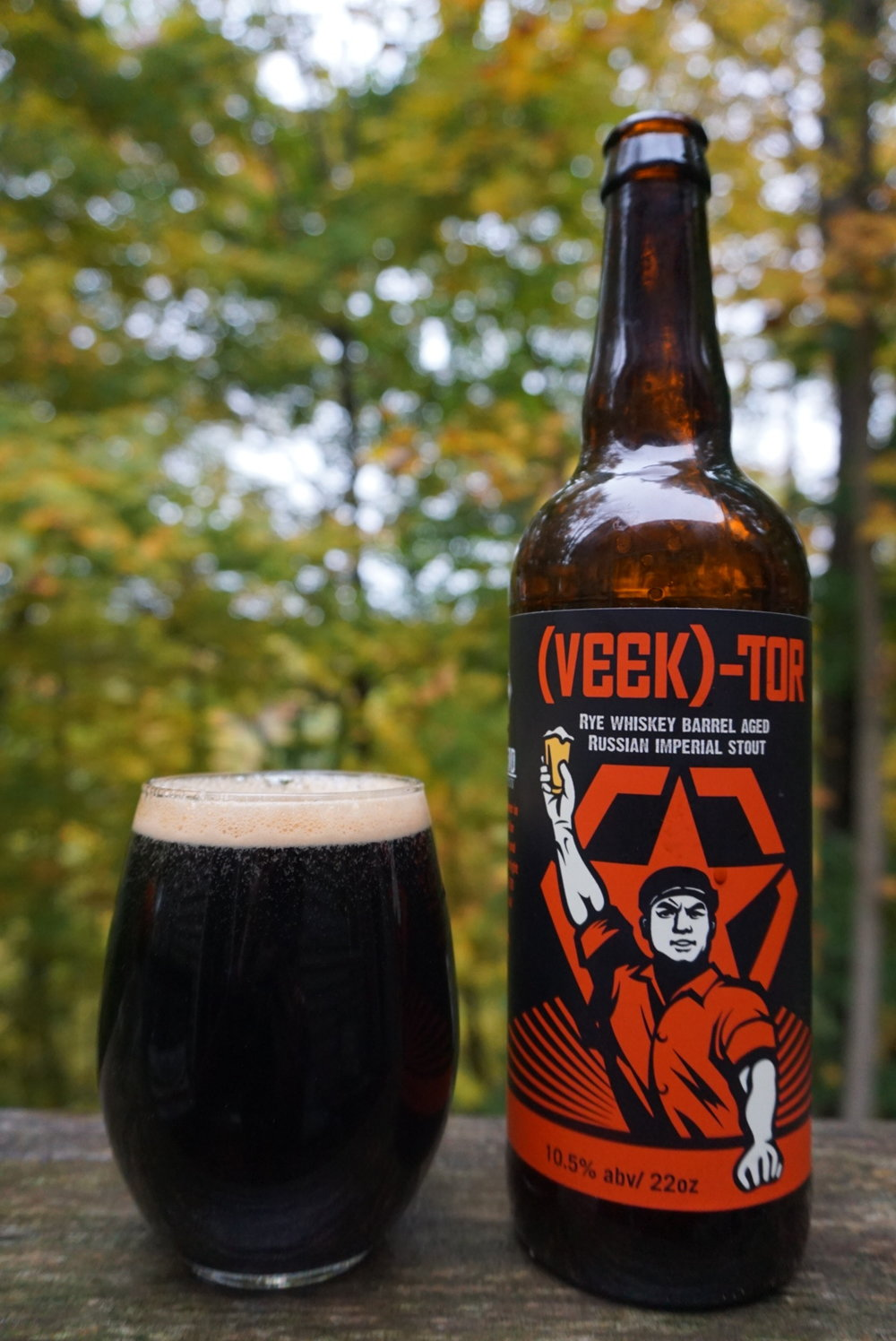 (VEEK)-Tor, Russian Imperial Stout, 10.5% - A Russian Imperial Stout that we allowed to age in our Rye Whiskey barrels. This lends a slight Whiskey character to the beer while still being malty and rich.