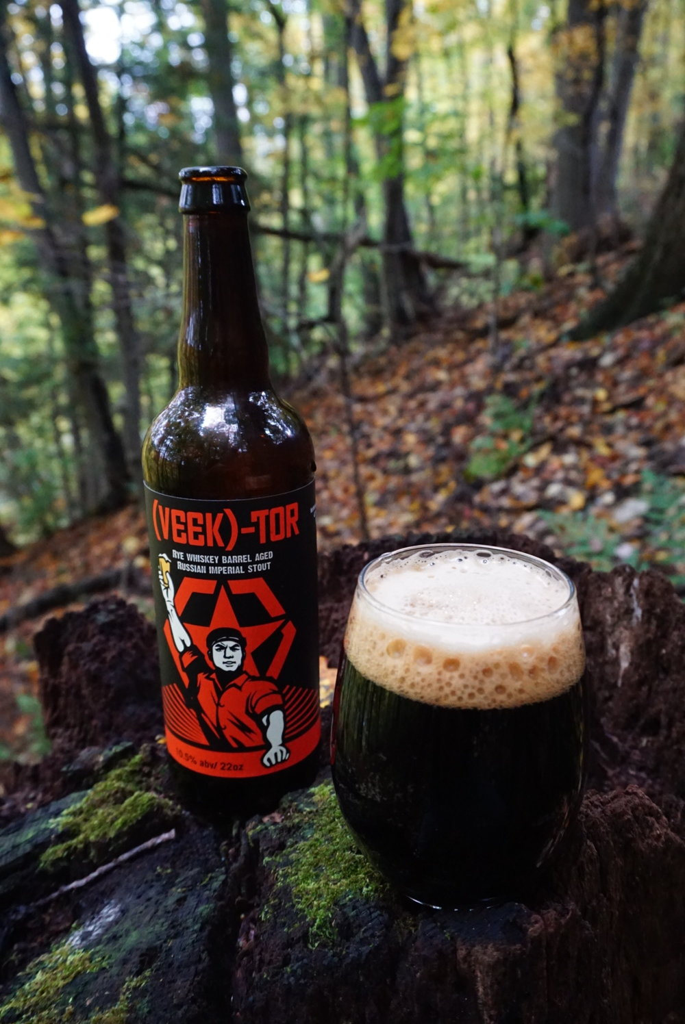 (VEEK)TOR Russian Imperial Stout, 10.5 % ABV - 22 oz bottle, aged 9 months in rye whiskey barrels. 10.5% alcohol, huge rye whiskey, caramel and dark chocolate on the nose. Flavors of carmelized sugar, roasty malts, raisins, dried figs, oak. Followed by a spicy rye whisky warmth.